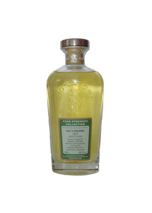 Single Malt Scotch Whisky Signatory Vintage Cask Strength Collection 21 years Allt-A-Bhainne 1977 – 700mL