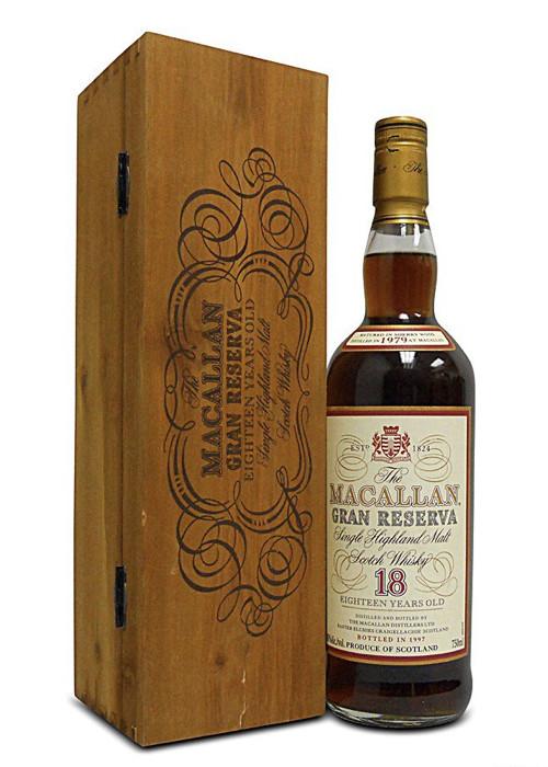 Highland Single Malt Scotch Whisky Gran Reserva 18 years The Macallan 1980 – 700mL