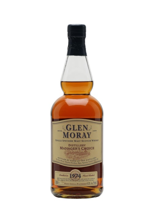 Single Malt Scotch Whisky Distillery Manager's Choice  Glen Moray Glenlivet 1974 – 700mL