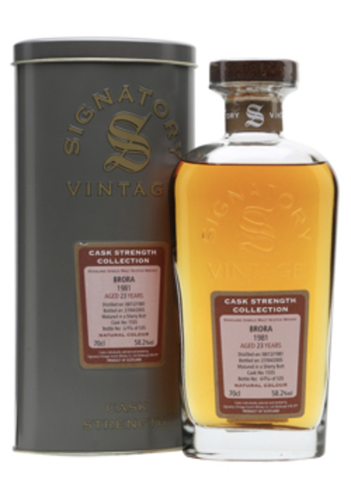 Single Malt Scotch Whisky Signatory Vintage Cask Strength Collection 23 years  Brora 1981 – 700mL