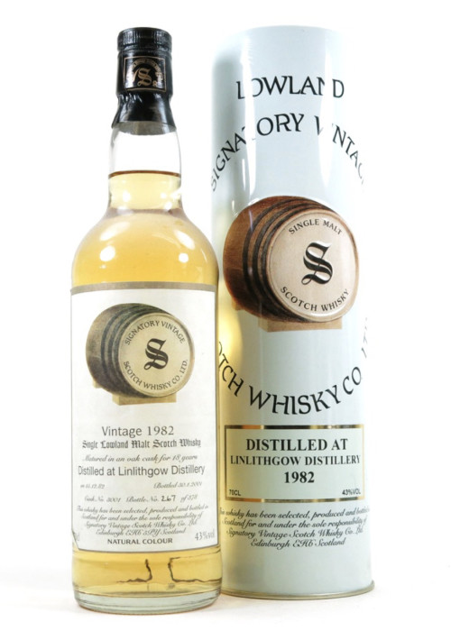 Lowland Single Malt Scotch Whisky Signatory Vintage 18 years   Linlithgow 1982 – 700mL