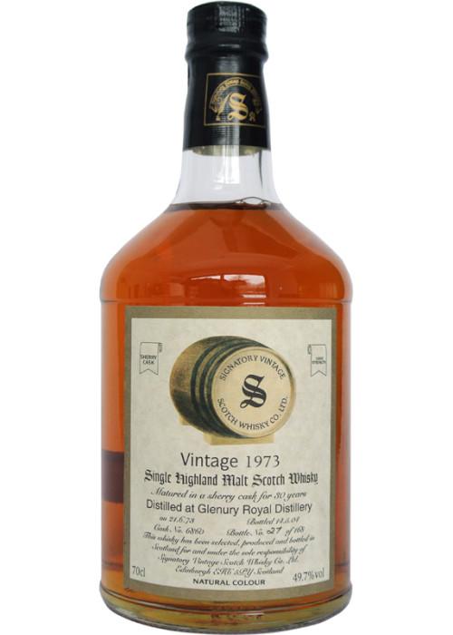Highland Single Malt Scotch Whisky Signatory Vintage 30 years  Glenury Royal 1973 – 700mL