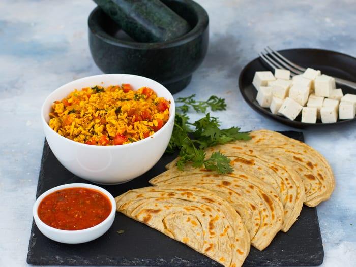 Tofu Bhurji with Lachha Parantha