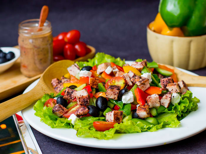 Chicken Fattoush Salad With Za'atar Dressing