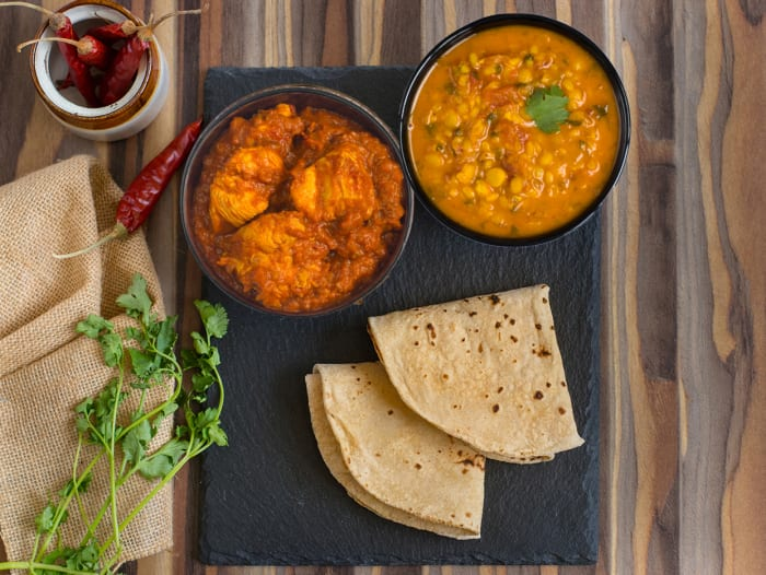 Light: 2 Rotis, Tawa Chicken & Dal Tadka