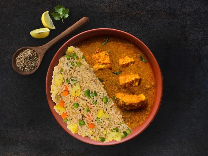 Hyderabadi Chicken Curry & Veg Pulao