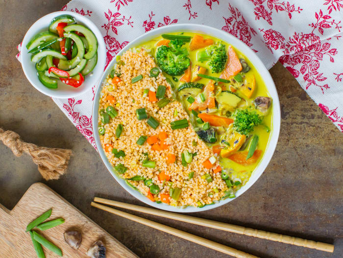 Asian Veg Curry & Wok-Tossed Millet Bowl