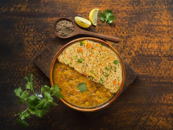 Dal Tadka & Vegetable Pulao
