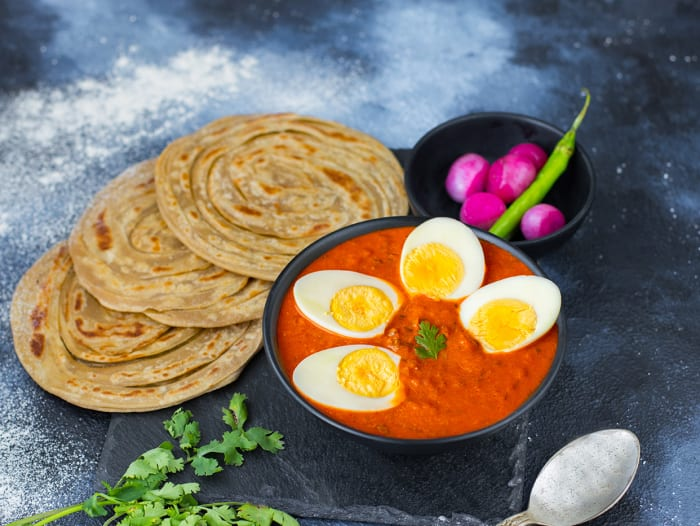 Masala Egg Curry & Paranthas Meal