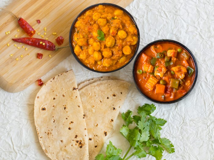 Light: 2 Rotis, Bhuna Sabzi & Punjabi Chole