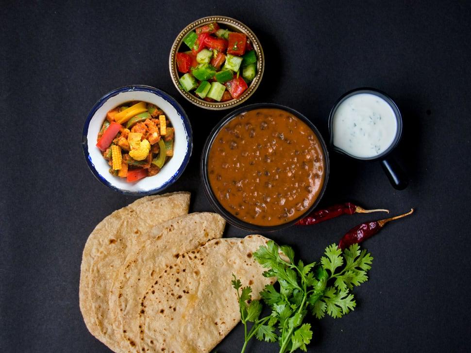 Tawa Sabzi, Dal Makhni & Rotis