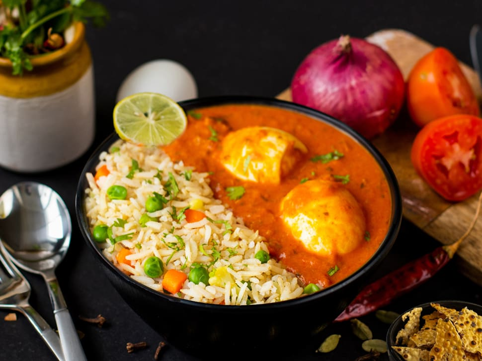 Masala Egg Curry & Vegetable Pulao
