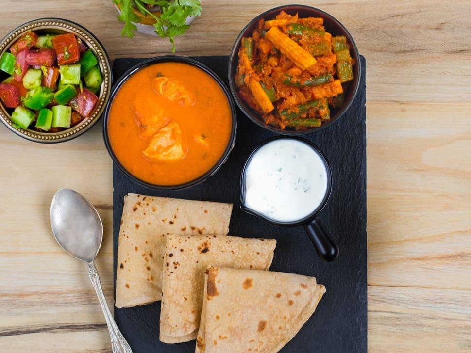 Butterless Chicken, Mixed Veg Curry & Rotis
