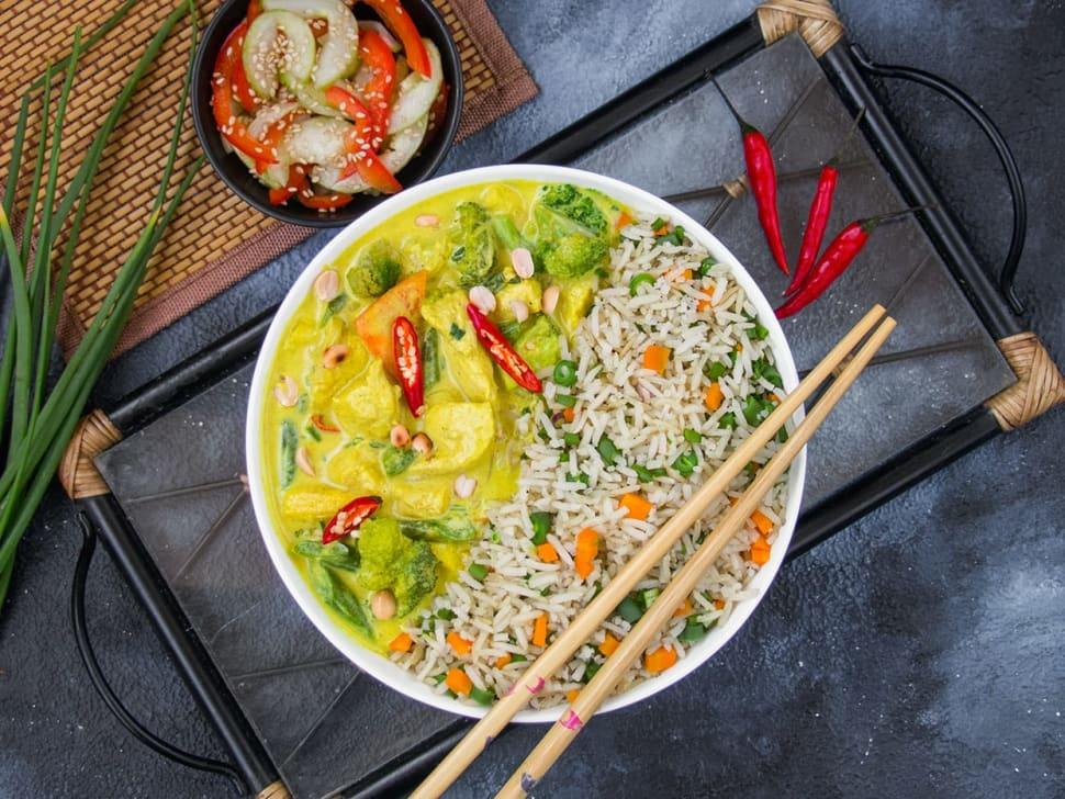 Vegetable Thai Green Curry & Rice