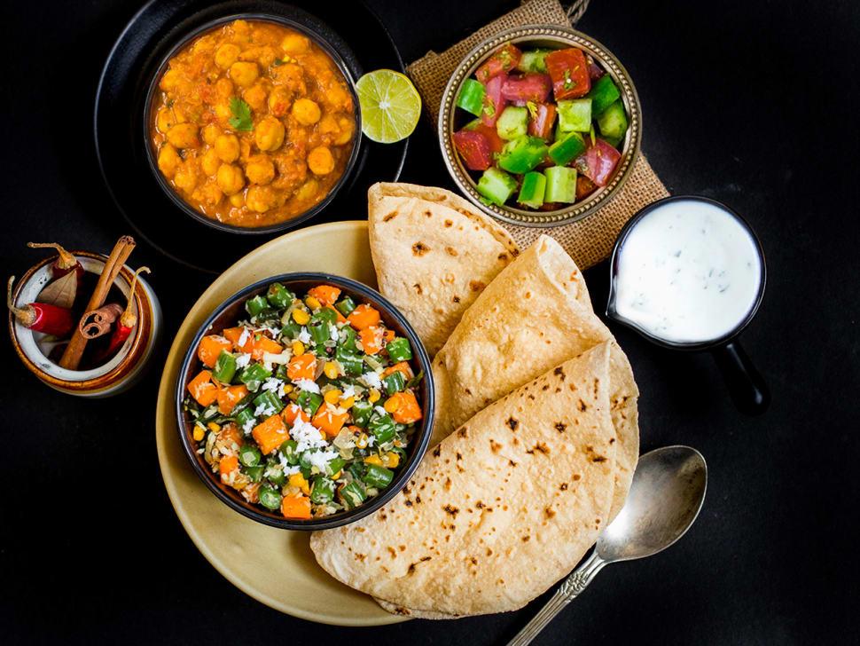 Vegetable Poriyal, Punjabi Chole & Rotis