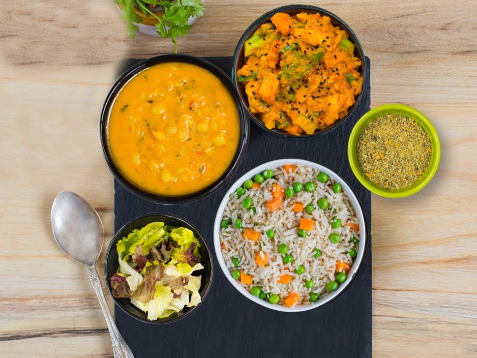 Weight Watch: Pulao, Roast Veg & Punjabi Dal Meal