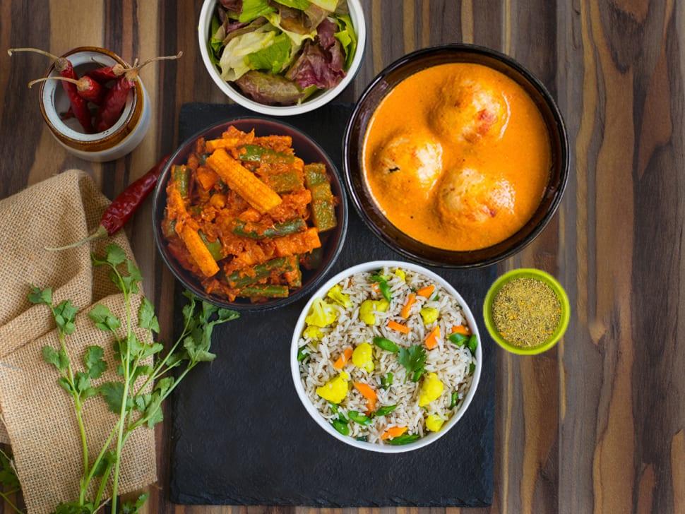 Weight Watch: Pulao, Mix Veg & Lauki Kofta Meal
