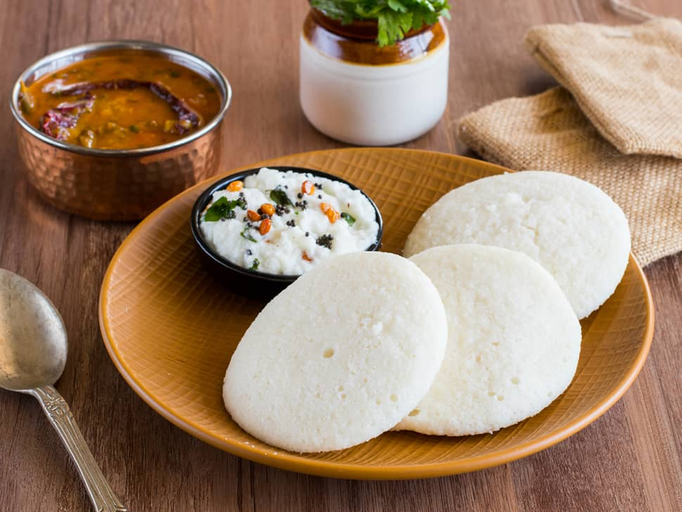 Idli-Sambar with Coconut Chutney