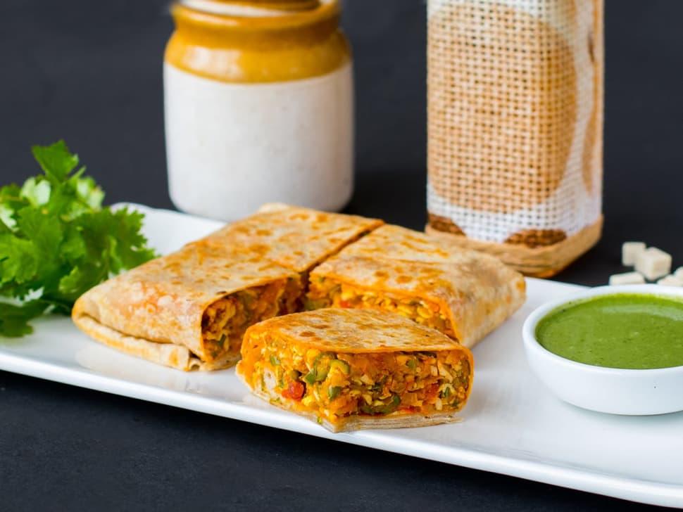 Tofu Keema Parantha Wrap