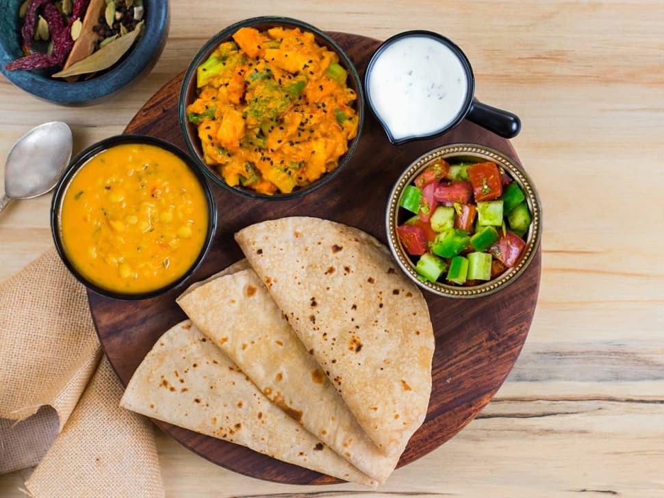 Roast Veg Korma, Punjabi Dal Tadka & Rotis