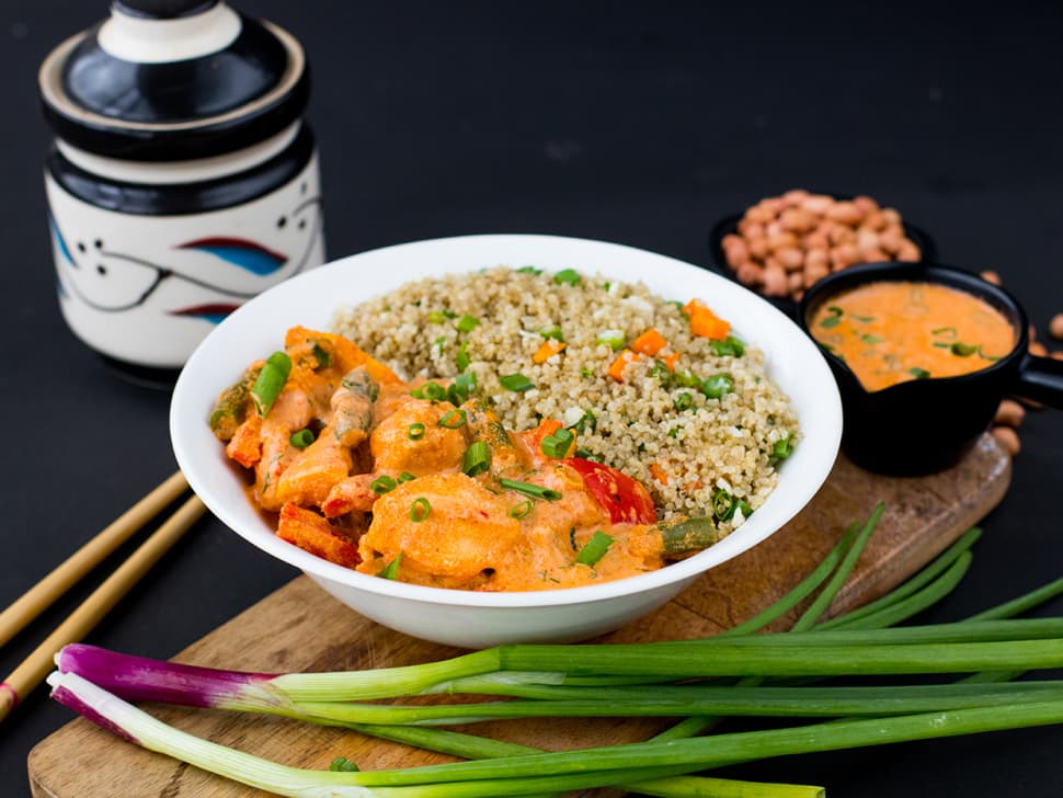 Chicken Peanut Curry & Wok-Tossed Millet Bowl