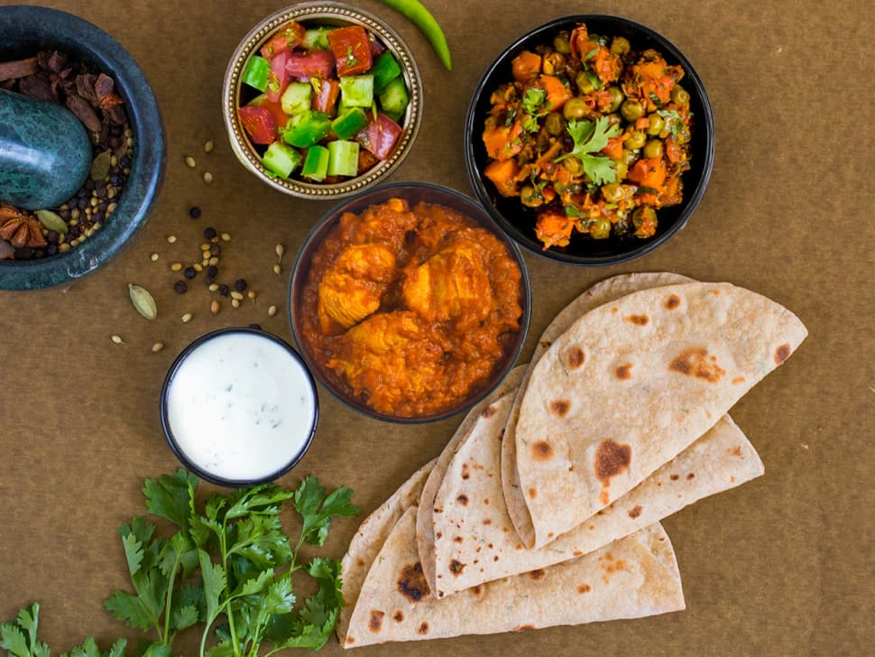 Tawa Chicken, Gajar Mattar & Rotis