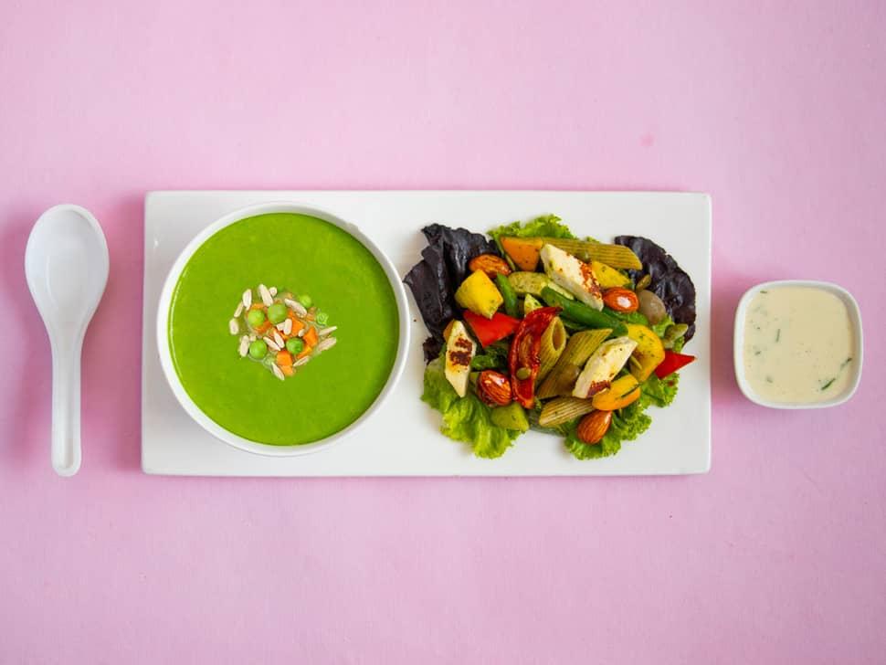 Weight Watch: Green Peas Soup & Paneer Pasta Salad