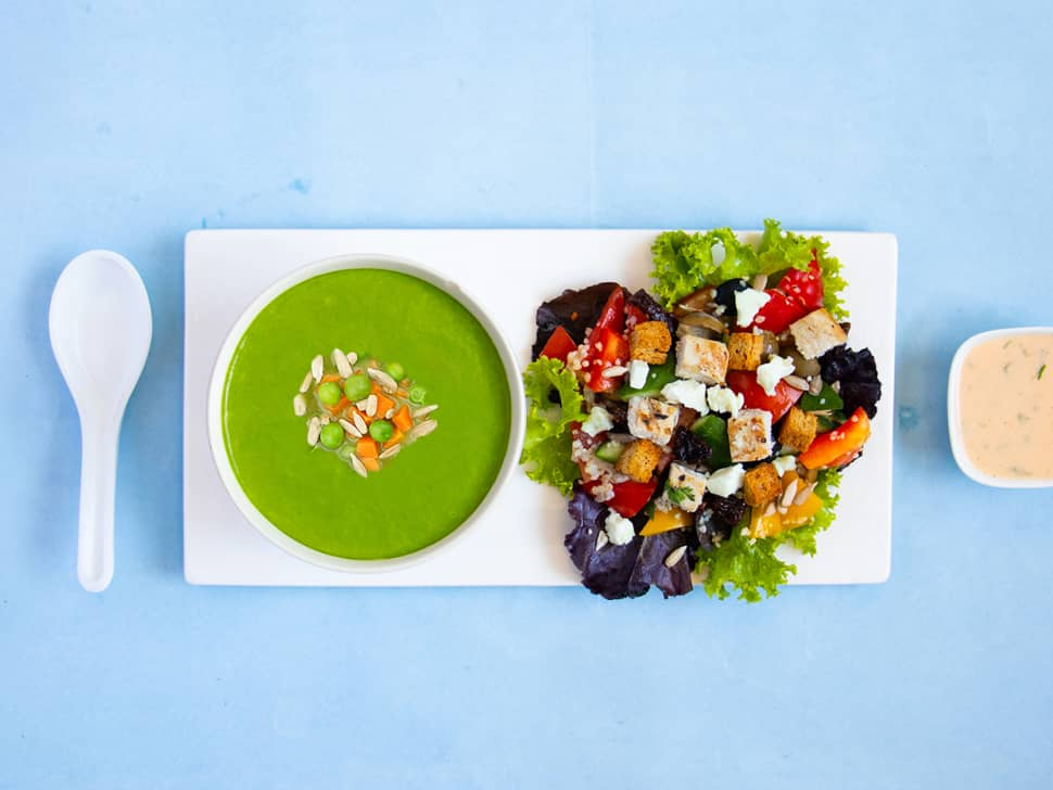 Weight Watch: Peas Soup & Chicken and Feta Salad
