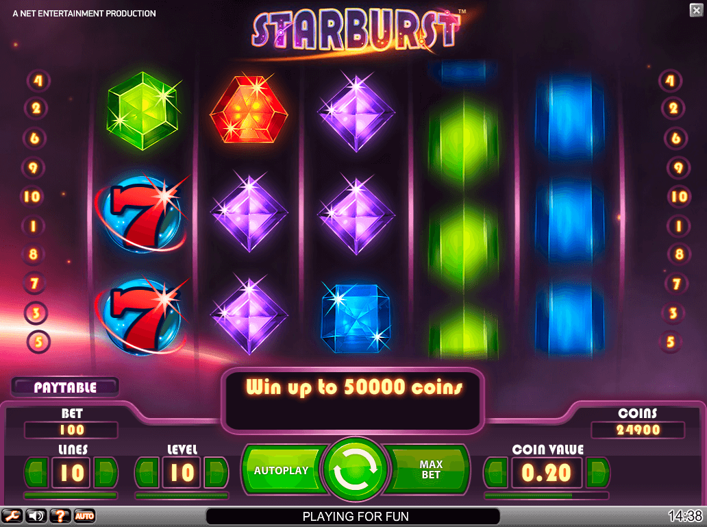 Image featuring Starburst, one of the most popular online casino slots provided by NetEnt.