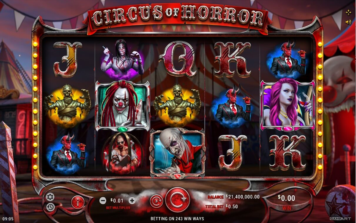 Online casino slot Circus of Horror from GameArt