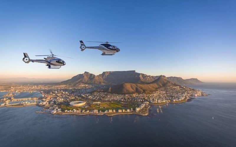 TWO OCEANS Helicopter Tour of Cape Town for 4 people + FREE Table Bay Boat Safari Ticket each!