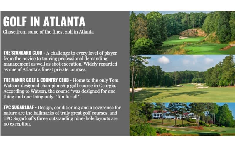 THE MASTERS 2022: 5 Nights in the Intercontinental Atlanta, Golf with carts at 3 Top Atlanta Courses + the FINAL DAY at THE MASTERS!