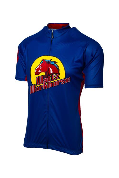 Wattz Men's Blue/Red Workhorze Short Sleeve Jersey
