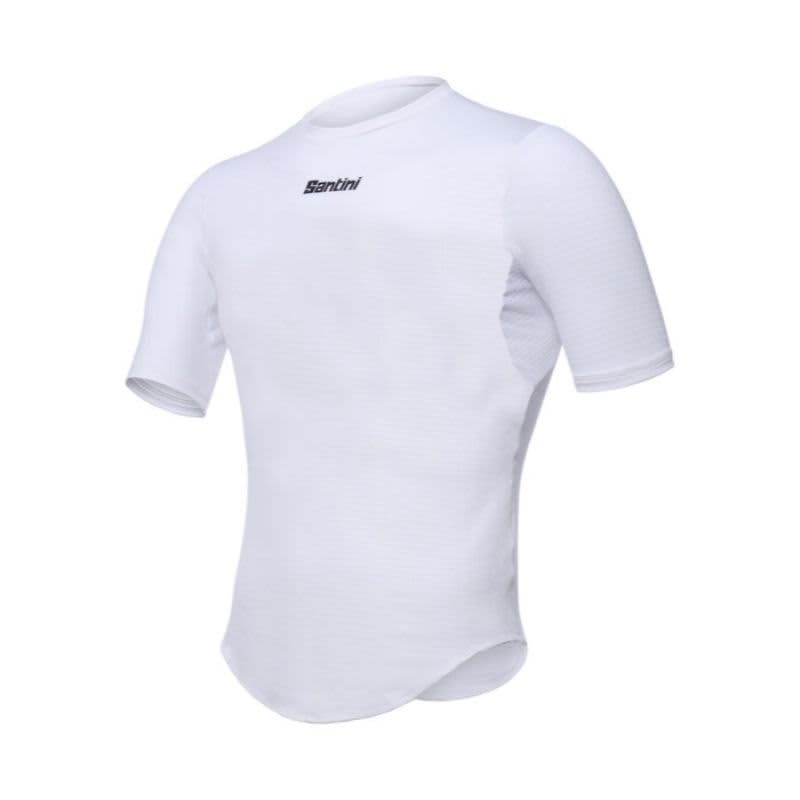 Santini Men's White Short Sleeve Base Layer