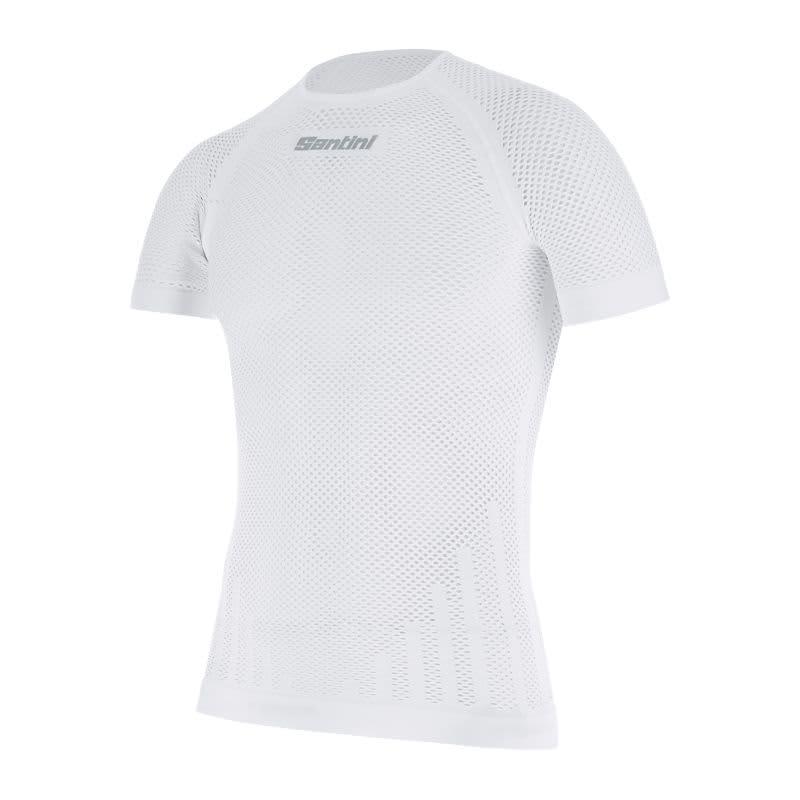 Santini Men's White Mesh Short Sleeves Base Layer
