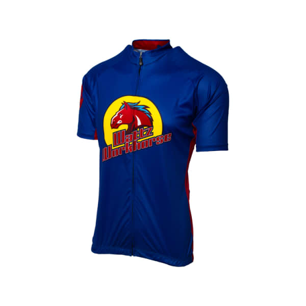 Wattz Men's Blue/Red Workhorze Short Sleeve Jersey