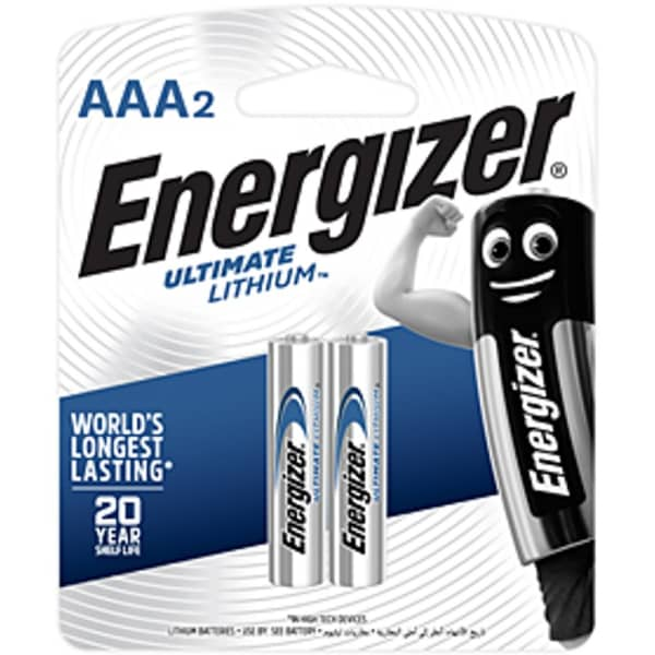 Energizer Ultimate Lithium  AAA 2 Pack Battery Card