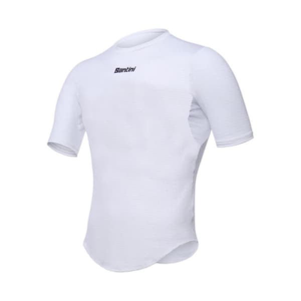 Santini Men's White Short Sleeve Base Layer