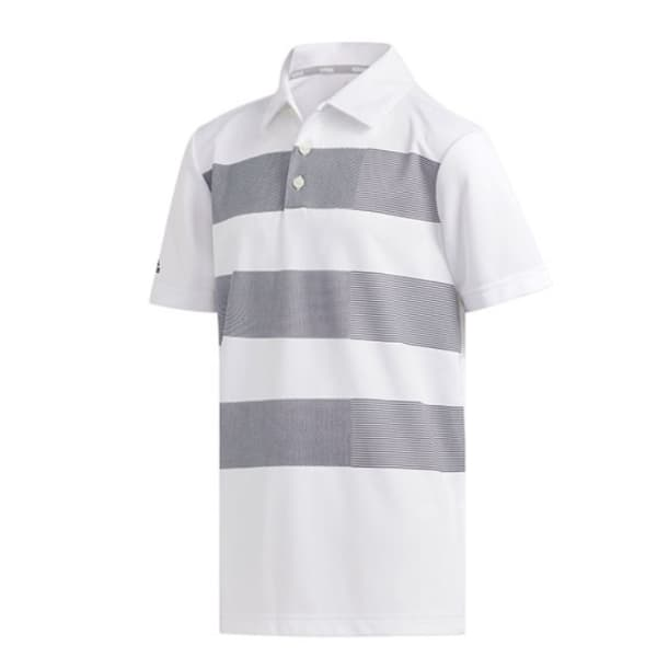 adidas 3 Stripe Junior Boys White Shirt