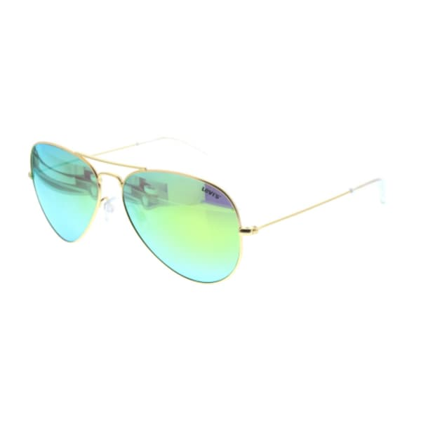 Levi's Ladies Metal Aviator Sunglasses (Gold Frame with Green Lens)