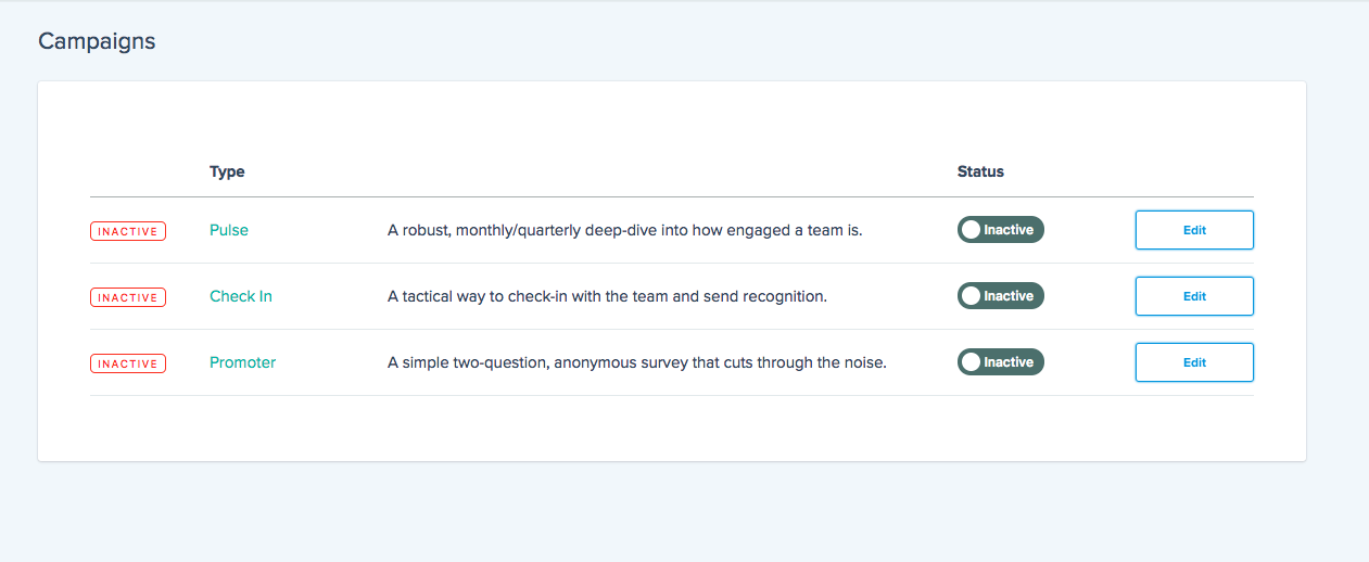 Promoter Score Campaign View