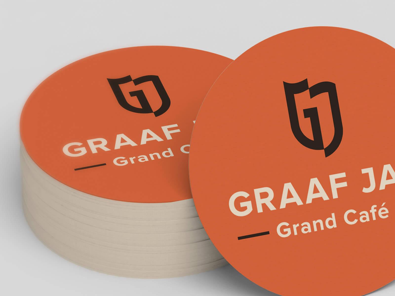 Het logo van Graaf Jan Grand Café op bierviltjes drukken