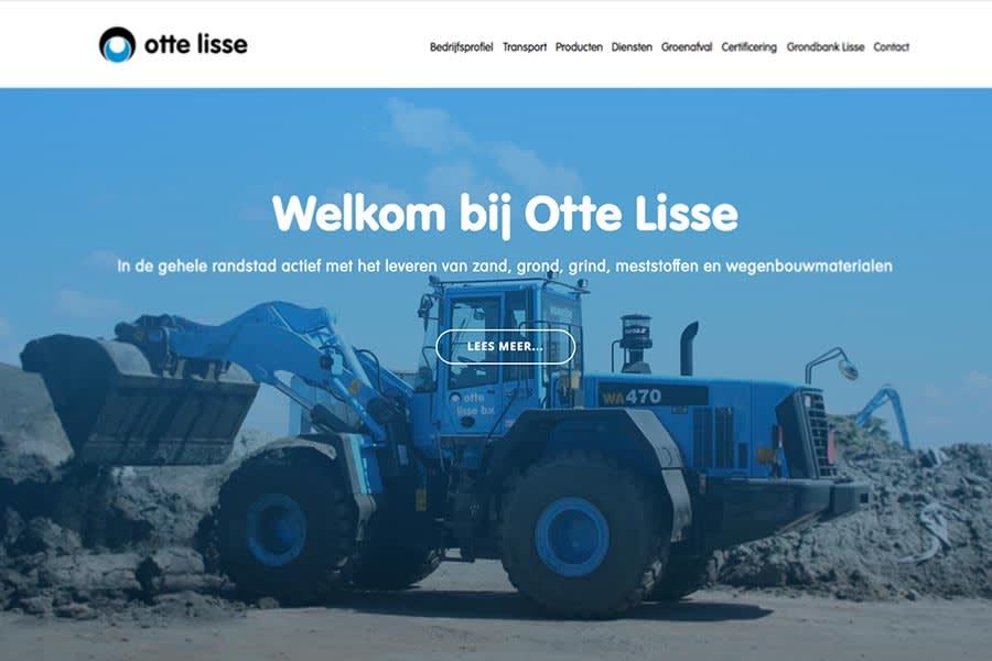 homepage van website otte lisse, ontwerp en realisatie