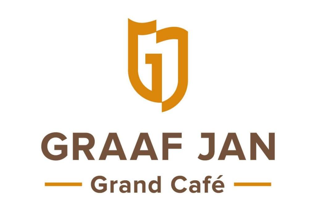 Logo ontwerp Grand-Café Graaf Jan Sassenheim in oranje en bruin