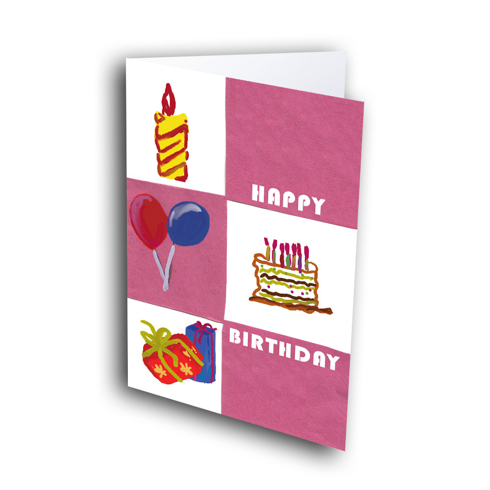Happy Birthday Gift With Cake And Flowers-Greetway