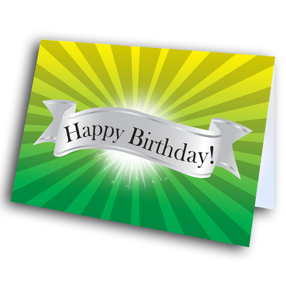 Happy Birthday Yellow Green Glow Greetway Greeting Cards