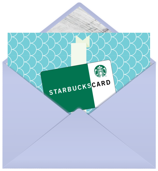 Starbucks gift card with greeting card