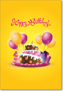 Picture of Yellow Purple Birthday Cake