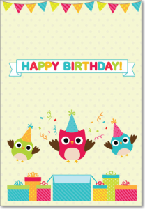 Picture of Three Owls Birthday