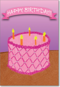 Picture of Pink Cake with Candles Birthday